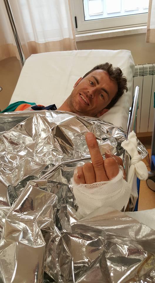 Giro 2015 stage 6 Daniele Colli kaza sonrası