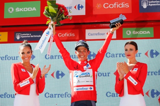27 August 2015 70th Vuelta a Espana Stage 06 : Cordoba - Sierra de Cazorla CHAVES Johan Esteban (COL) Orica - GreenEDGE, Maillot Rojo Photo : Yuzuru SUNADA